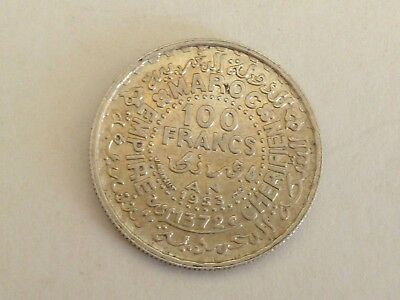 1953 Morocco 100 Francs 72% Silver Coin Lightly Circulated