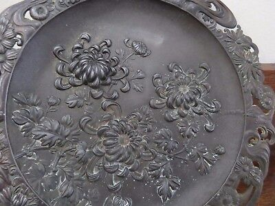 Antique? Vintage Metal Repousse Japanese? Plaque Chrysanthenmums Very Heavy