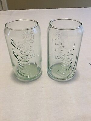 Coca Cola Green Can Shaped Glasses NWT
