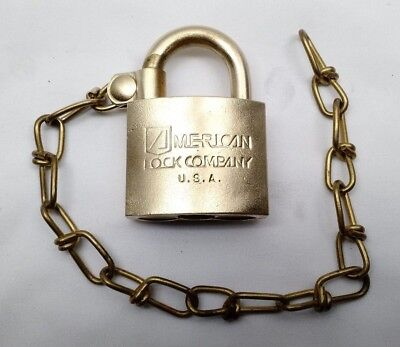 Vintage American Lock Co US Military USA Solid Brass Padlock Lock with Chain