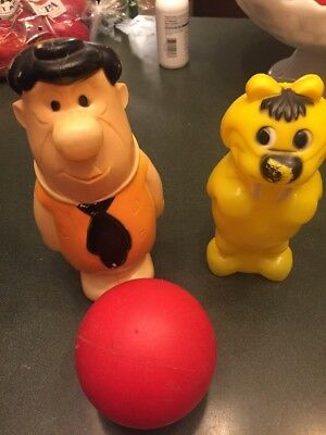 Two Vintage 1960s Fred Flintstone Bowling Pins from the Flintstones Bowling Set