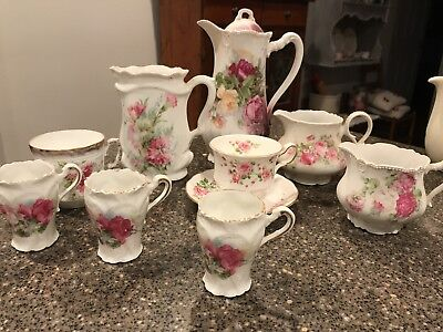 Vintage Shabby Chic Cottage Roses Dishes!! 9 Pieces..tea Party!!
