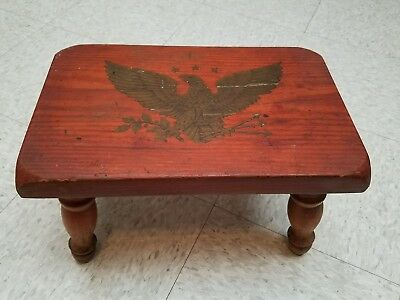 """Vintage Wooden American Eagle Decal Foot Stool Primitive Look 15"""" x 9.5"""" x 9"""""""