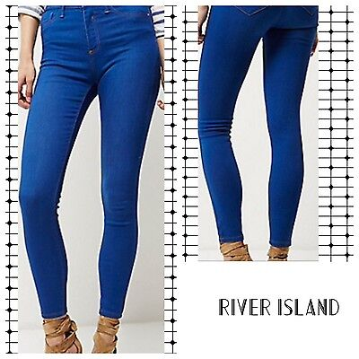 ex-River Island  Bright Blue Wash Molly Jeggings (6940)