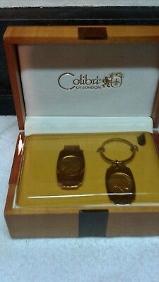 Vintage Wooden Mens Valet Jewelry Box key chain and money clip  Colibri