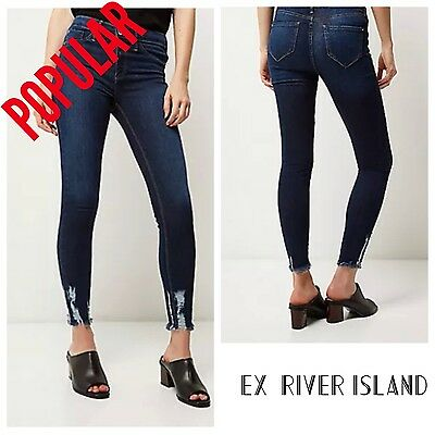 ex-River Island  Molly Dark Blue Wash 'chewed hem' Jeggings (6685)