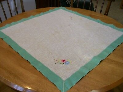 Vintage Table Cloth Homespun White Linen Cloth, Embroidered & Edged in Green