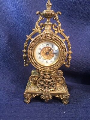 Antique Ornate Small Heavy Brass Carriage or Vanity Wind Up Clock