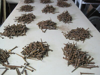 """Antique Rosehead Cut  Square 2"""" Long Nails  One Pound 100 Pieces New Old Stock"""