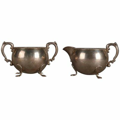 Set of Fisher Sterling Silver Footed Creamer and Sugar, 10.3 Toz