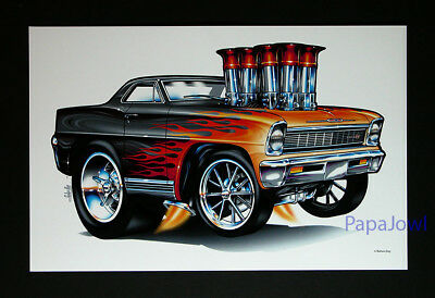 "Muscle Machines Print Art Poster 1966 Chevrolet Nova By Rohan Day 11"" by 17"""