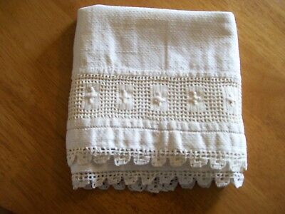 Antique Hand Towel, Coarse Woven Linen Cloth White Embroidered Lace Trim 15x27