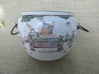 Antique Oriental Porcelain Bowl or Cachepo with Oriental Writing
