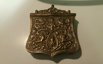 Vintage Antique Brass Figural Rampant Lion & Bird Hinged Wall Match Safe Holder