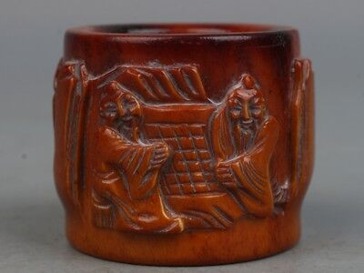 Chinese Exquisite Hand-carved old man and pine carving Antlers Fingerstall