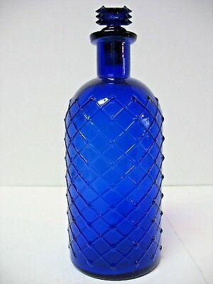 Larger Size Cobalt Quilted Poison Bottle With Stopper