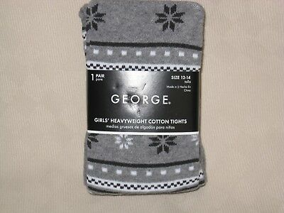 George Girls Heavyweight Cotton Footed Gray Black White Tights Size 12-14 Nwt's