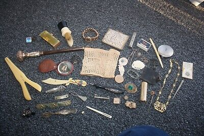 Large Lot Grouping Victorian To Later Jewelry, Sewing, Vanity, Compacts