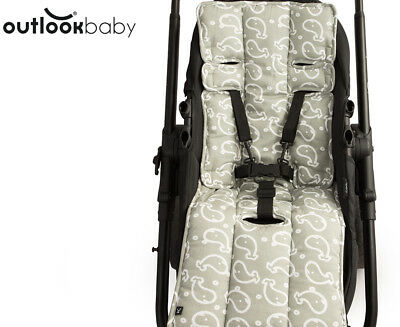 Outlook Cotton Pram Liner - Grey Whales