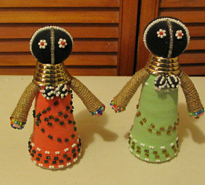 Lot of 2 AFRICAN Ndebele tribe hand made small beeded fertility dolls.