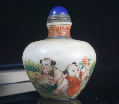 Chinese Exquisite Handmade Child pattern Glass snuff bottle