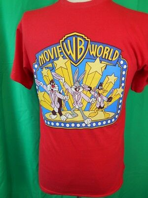 Vintage 1990s Red Poly/Cotton Official Warner Brothers Movie World T-shirt S