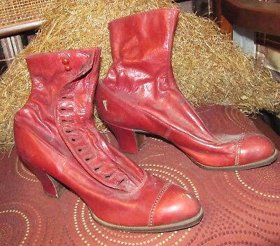 Rare Antique Victorian Red Leather High Top Button Up Ladies Boots 1890 Wichert