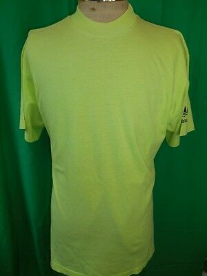 Vintage 1980s 90s Fluro Green Cotton Official Australian Made Adidas T-shirt L