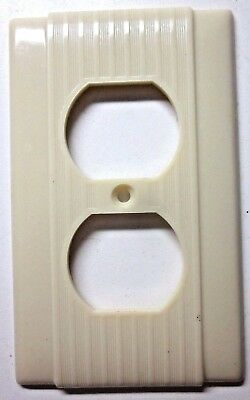 New Vintage Ivory Bakelite Uniline P&S Art Deco Outlet Plate Cover Ribbed Lines