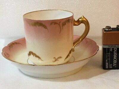 Limoges Antique Pink/Gold Haviland Cup and Saucer # 5276