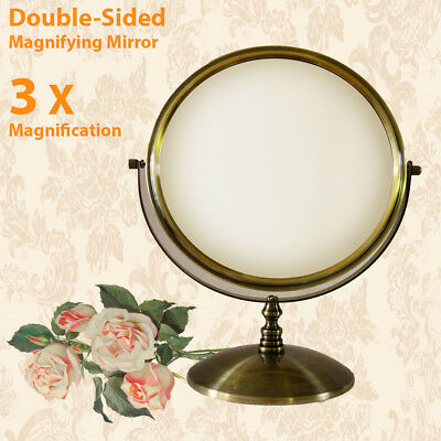 Antique Brass Beauty Bathroom Double Side 3x Magnifying Makeup Cosmetic Mirror