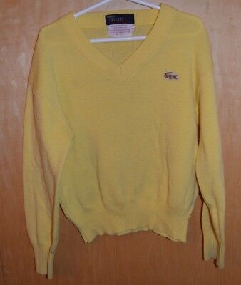 vintage IZOD j.g. LACOSTE  V NECK YELLOW GOLD GATOR SWEATER KIDS Childs 8 YOUTH