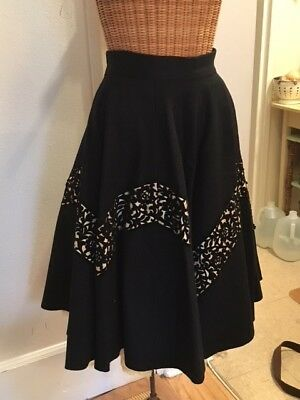 Vintage 1950'S Felt Full Skirt- Black With Yellow Petticoat- Unique! Size Small