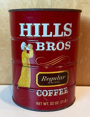 Vintage 1950s Hills Bros 2 Pound Coffee Can Tin