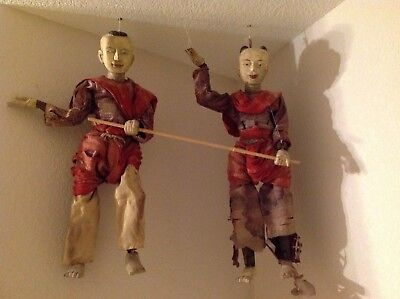 Rare Vintage Thailand Marionettes - Antique terra-cotta with original wardrobe
