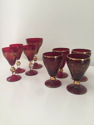 8 Cranberry Ruby Red Vintage Antique Glass Sherry Port Cranberry/Gold Etching