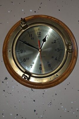 Wood Frame Ships Porthole Wall Clock