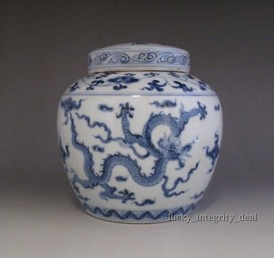 Fine Chinese Tian Marked Blue and White Porcelain Dragon Cover pot jar