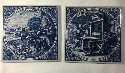 "N: Joh. Luyken Two 6"" Delft Hand Painted Tiles w/ Working Men Holland Beautiful"