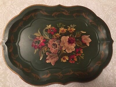 Vintage Toleware Tray Green Floral Flowers Hand Painted Sheet Metal 18x13 Nice!