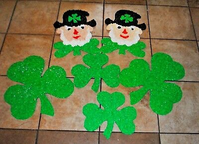 Lot of 6 Vintage Melted Plastic Popcorn St Patrick Day Shamrock Leprechaun