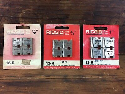 "Lot X3 New Old Stock Sets Ridgid Bspt 12-R  1"" - 1/2"" Threading Chasing Dies Usa"