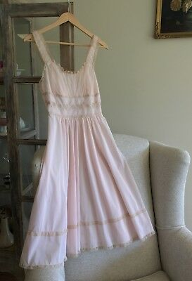 Elegant vintage nightgown pink, coffee lace wedding bridal Dita Von Teese size S