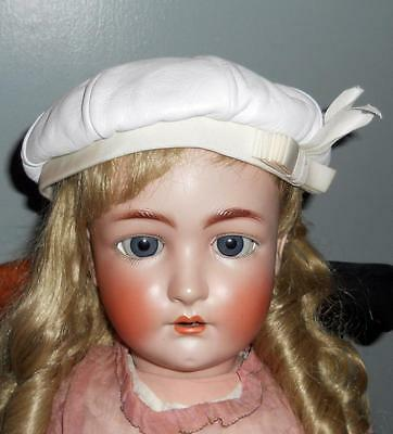 VTG Girl's White Leather Tam Hat Beret NOS w/ Tag Cute & Chic! Jonquil Original