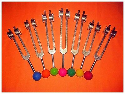 7 Chakras Weighted Tuning Forks with Color Balls + activator