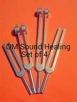 New  4 Set Low Mid High Om Ohm Tuner Tuning Fork with MALLET & Velvet Pouch