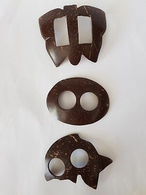 Coconut Shell Buckles - Set of 3
