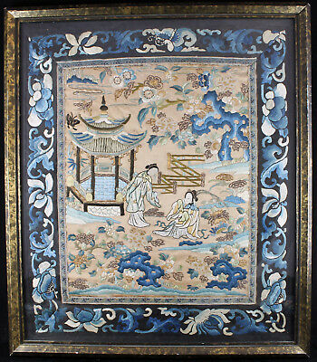 19Thc Qing Chinese Embroidered Silk Panel Kesi Textile Imperial Scene Embroidery