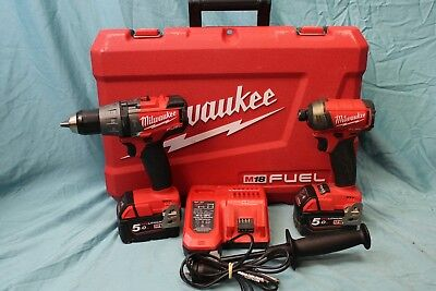Milwaukee Tool Combo Impact Driver Hammer Drill 2x Batteries Charger AS NEW!