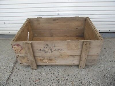 Large Vintage Wooden Timber Crate Box Storage